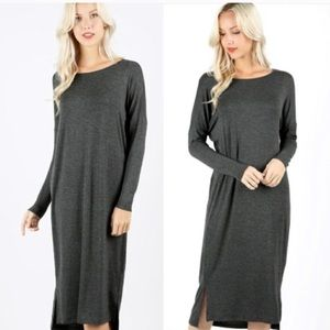 ZENANA Premium Long Sleeve Midi Dress